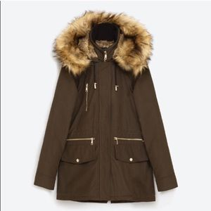 Zara | fur parka olive green large